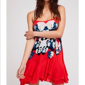 Free People Lucy Dress Floral Cherry Red NWT M